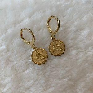 Brass Zodiac Sign Earrings